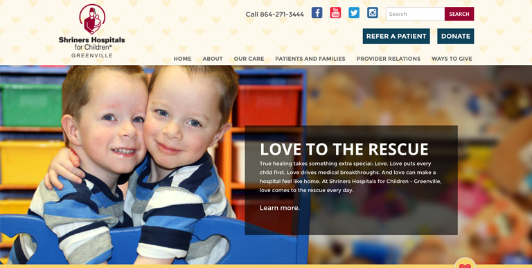 web design- shriners hospital greenville sc